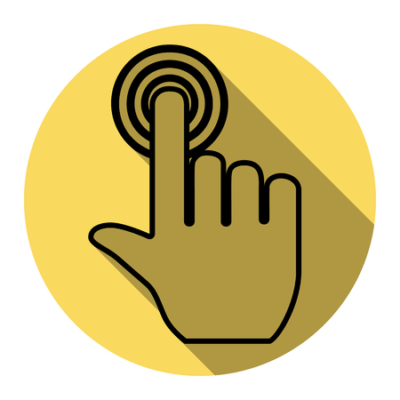 Hand click on button. Vector. Flat black icon with flat shadow on royal yellow circle with white background. Isolated.