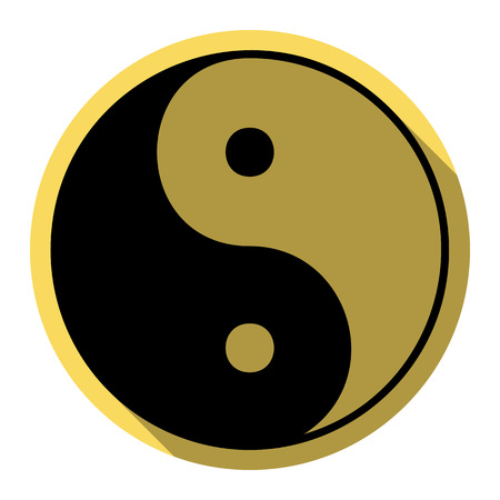 contrasts: Ying yang symbol of harmony and balance. Vector. Flat black icon with flat shadow on royal yellow circle with white background. Isolated.