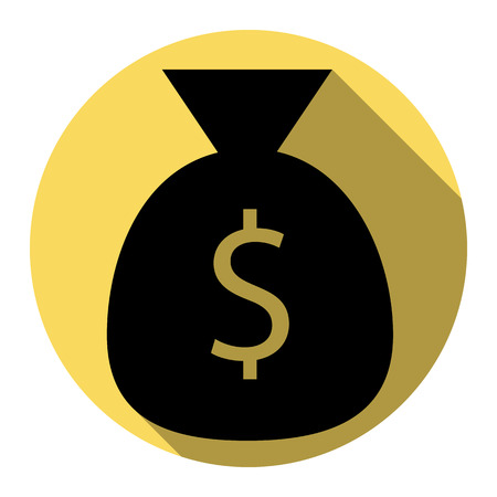 billing: Money bag sign illustration. Vector. Flat black icon with flat shadow on royal yellow circle with white background. Isolated.