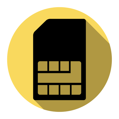 Sim card sign. Vector. Flat black icon with flat shadow on royal yellow circle with white background. Isolated. Illustration