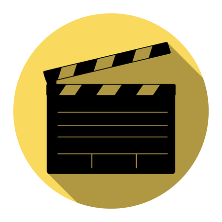 Film clap board cinema sign. Vector. Flat black icon with flat shadow on royal yellow circle with white background. Isolated.