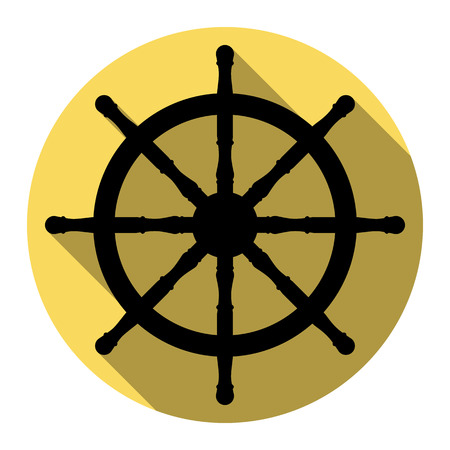 command: Ship wheel sign. Vector. Flat black icon with flat shadow on royal yellow circle with white background. Isolated. Illustration