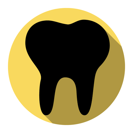 Tooth sign illustration. Vector. Flat black icon with flat shadow on royal yellow circle with white background. Isolated. Illustration
