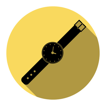 appointments: Watch sign illustration. Vector. Flat black icon with flat shadow on royal yellow circle with white background. Isolated.
