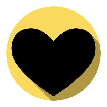 Tie sign. Vector. Flat black icon with flat shadow on royal yellow circle with white background. Isolated.