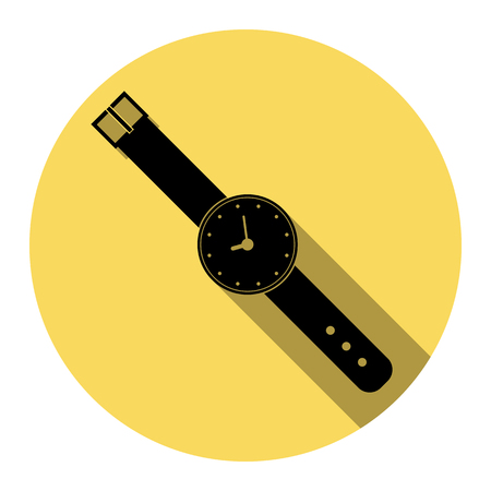 Watch sign illustration. Vector. Flat black icon with flat shadow on royal yellow circle with white background. Isolated.
