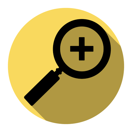inspector: Zoom sign illustration. Vector. Flat black icon with flat shadow on royal yellow circle with white background. Isolated. Illustration