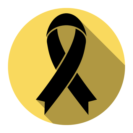 Black awareness ribbon sign.