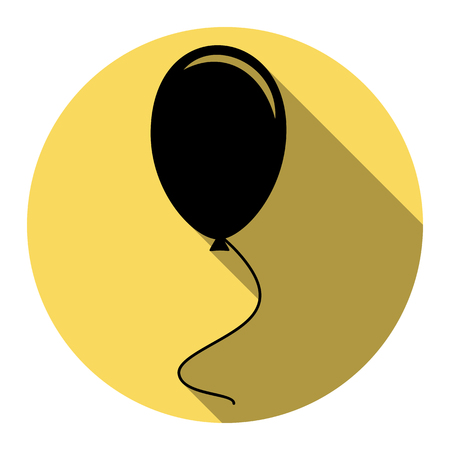 Balloon sign illustration. Vector. Flat black icon with flat shadow on royal yellow circle with white background. Isolated.