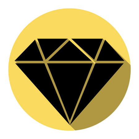 Diamond sign illustration. Vector. Flat black icon with flat shadow on royal yellow circle with white background. Isolated.