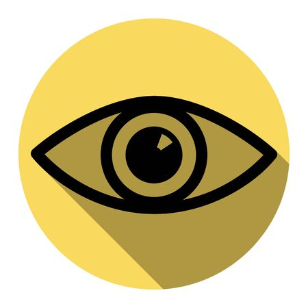 Eye sign illustration. Vector. Flat black icon with flat shadow on royal yellow circle with white background. Isolated.