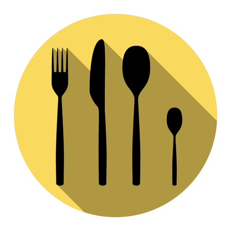 Fork spoon and knife sign. Vector. Flat black icon with flat shadow on royal yellow circle with white background. Isolated.