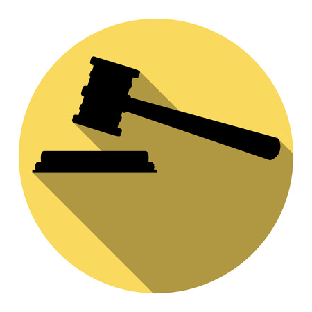 Justice hammer sign. Vector. Flat black icon with flat shadow on royal yellow circle with white background. Isolated.