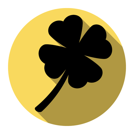 patric: Leaf clover sign. Vector. Flat black icon with flat shadow on royal yellow circle with white background. Isolated. Illustration