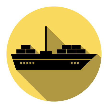 ine: Ship sign illustration. Vector. Flat black icon with flat shadow on royal yellow circle with white background. Isolated.