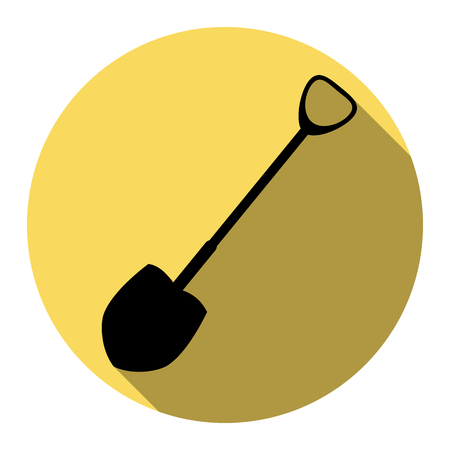 raking: Shovel to work in the garden. Vector. Flat black icon with flat shadow on royal yellow circle with white background. Isolated. Illustration