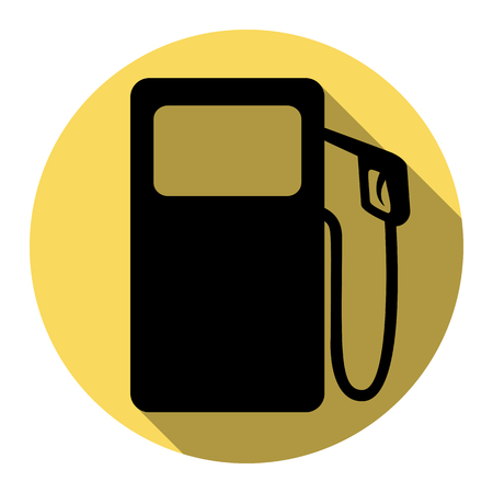 oil and gas industry: Gas pump sign. Vector. Flat black icon with flat shadow on royal yellow circle with white background. Isolated.