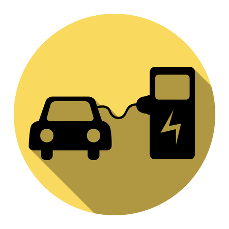 Electric car battery charging sign. Vector. Flat black icon with flat shadow on royal yellow circle with white background. Isolated.