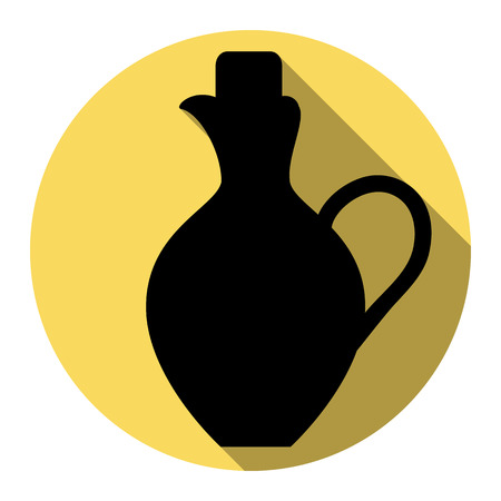simplified: Amphora sign illustration. Vector. Flat black icon with flat shadow on royal yellow circle with white background. Isolated.