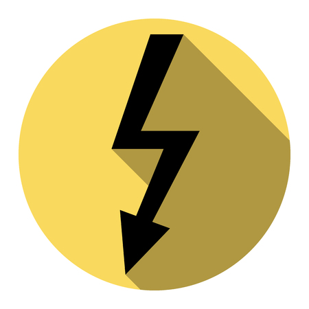 volte: High voltage danger sign. Vector. Flat black icon with flat shadow on royal yellow circle with white background. Isolated. Illustration