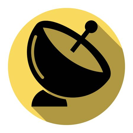 Satellite dish sign. Vector. Flat black icon with flat shadow on royal yellow circle with white background. Isolated.