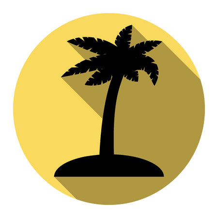 Coconut palm tree sign. Vector. Flat black icon with flat shadow on royal yellow circle with white background. Isolated. Illustration