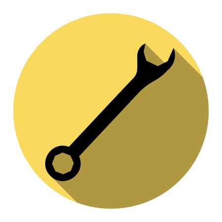 Crossed wrenches sign. Vector. Flat black icon with flat shadow on royal yellow circle with white background. Isolated.