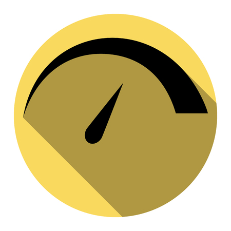 Speedometer sign illustration. Vector. Flat black icon with flat shadow on royal yellow circle with white background. Isolated.