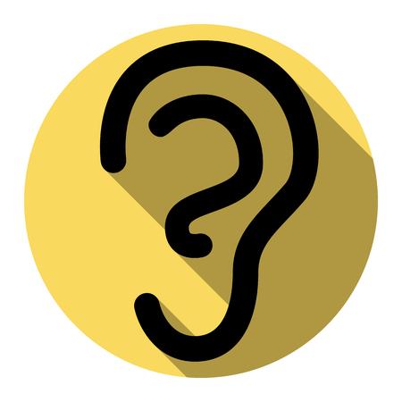 Signo del oído humano. Vector. Icono negro plano con sombra plana en círculo real amarillo con fondo blanco. Aislado. Foto de archivo - 75109049