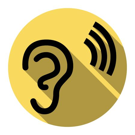audible: Human ear sign. Vector. Flat black icon with flat shadow on royal yellow circle with white background. Isolated.