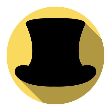 Top-Hut-Zeichen. Vektor. Flache schwarze Ikone mit flachem Schatten auf königlichem gelbem Kreis mit weißem Hintergrund. Isoliert.