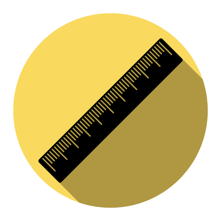 Centimeter ruler sign. Vector. Flat black icon with flat shadow on royal yellow circle with white background. Isolated.
