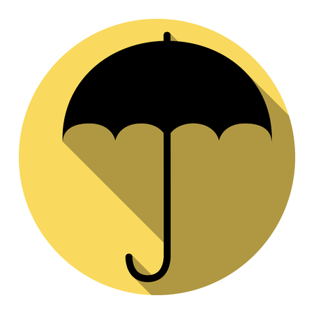 Umbrella sign icon. Rain protection symbol. Flat design style. Vector. Flat black icon with flat shadow on royal yellow circle with white background. Isolated.