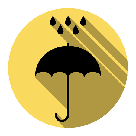 Umbrella with water drops. Rain protection symbol. Flat design style. Vector. Flat black icon with flat shadow on royal yellow circle with white background. Isolated.