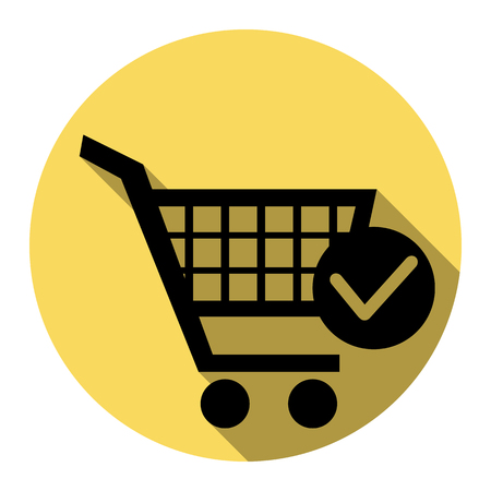 Shopping Cart with Check Mark sign. Vector. Flat black icon with flat shadow on royal yellow circle with white background. Isolated. Illustration