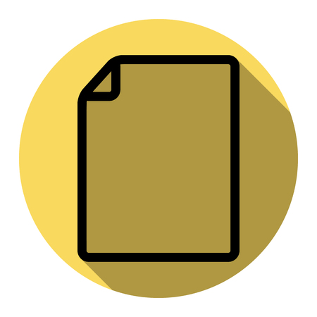 note pad: Vertical document sign illustration. Vector. Flat black icon with flat shadow on royal yellow circle with white background. Isolated.