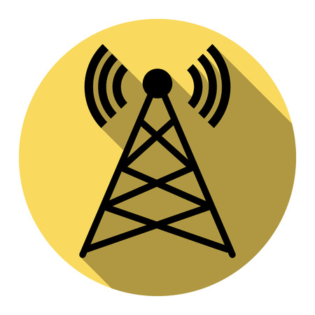 Antenna sign illustration. Vector. Flat black icon with flat shadow on royal yellow circle with white background. Isolated.