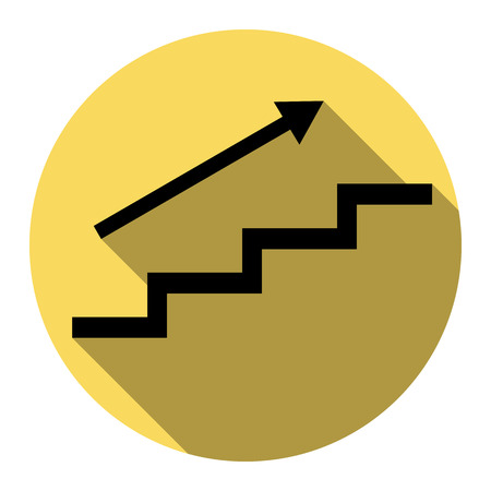 way to go: Stair with arrow. Vector. Flat black icon with flat shadow on royal yellow circle with white background. Isolated. Illustration