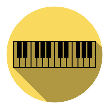 Piano Keyboard sign. Vector. Flat black icon with flat shadow on royal yellow circle with white background. Isolated.