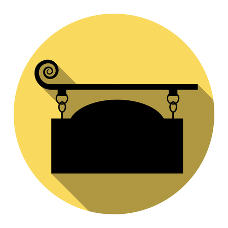forge: Wrought iron sign for old-fashioned design. Vector. Flat black icon with flat shadow on royal yellow circle with white background. Isolated.