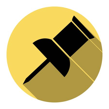 thumbtack: Pin push sign. Vector. Flat black icon with flat shadow on royal yellow circle with white background. Isolated. Illustration