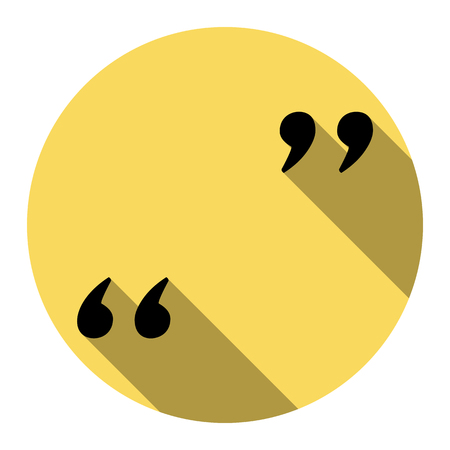 Quote sign illustration. Vector. Flat black icon with flat shadow on royal yellow circle with white background. Isolated.