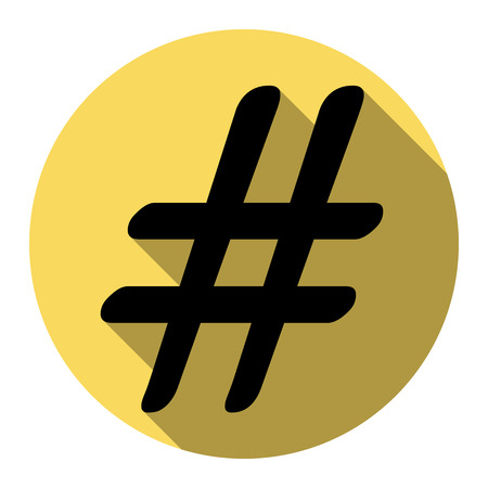 Hashtag sign illustration. Vector. Flat black icon with flat shadow on royal yellow circle with white background. Isolated.