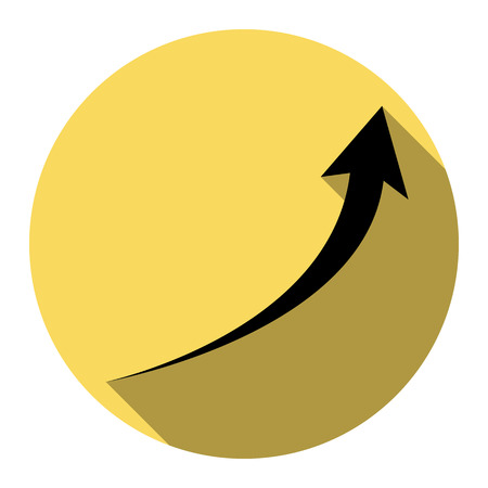Growing arrow sign. Vector. Flat black icon with flat shadow on royal yellow circle with white background. Isolated. Illustration