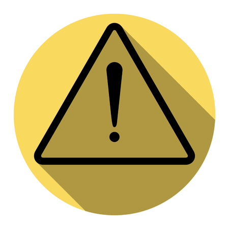 Exclamation danger sign. Flat style. Vector. Flat black icon with flat shadow on royal yellow circle with white background. Isolated.