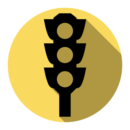 stop and go light: Traffic light sign. Vector. Flat black icon with flat shadow on royal yellow circle with white background. Isolated.