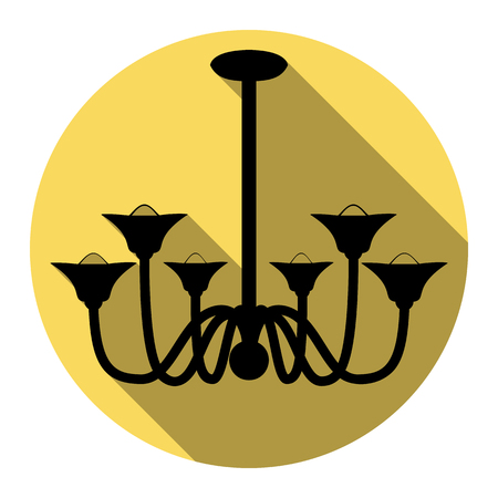 Chandelier simple sign. Vector. Flat black icon with flat shadow on royal yellow circle with white background. Isolated.