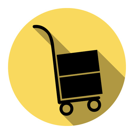 conveyance: Hand truck sign. Vector. Flat black icon with flat shadow on royal yellow circle with white background. Isolated. Illustration