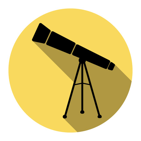 ocular: Telescope simple sign. Vector. Flat black icon with flat shadow on royal yellow circle with white background. Isolated.
