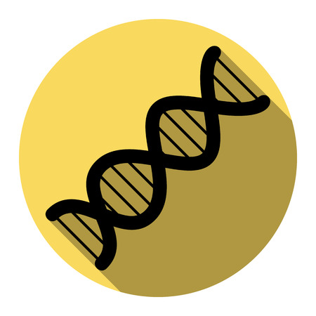 The DNA sign. Vector. Flat black icon with flat shadow on royal yellow circle with white background. Isolated.